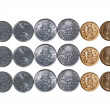 3 rows Indicurrency Coins isolated on white copy space — Stockfoto #11078648