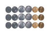 3 rows Indian currency Coins isolated on white copy space — Stock Photo