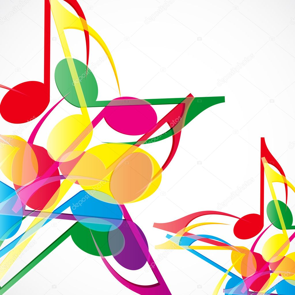 Vector music stars background. Colorfull music notes. — Stock Vector #10954899