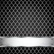Metal fence on a dark background. - Image vectorielle