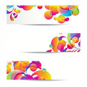 Abstract web banners with colorful arc-drop for your www design — Stock Vector