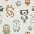 Royalty-Free Stock Vector Image: Seamless pattern with various owls on a neutral background.