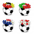 Soccer balls with floral national flags — Stock Vector #11059508