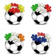 Soccer balls with floral national flags — Stock Vector #11059521