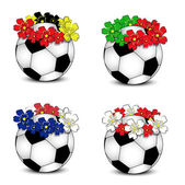 Soccer balls with floral national flags — Stock Vector
