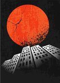 黙示録的なレトロなポスター。日没。グランジ背景. — ストックベクタ