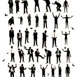 Young men silhouettes. A resident of the street, naked, business — Stock Vector