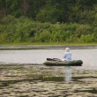 Stock Photo: Angling fishermin boat
