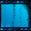 Blue background with photo film frames — Stock Photo