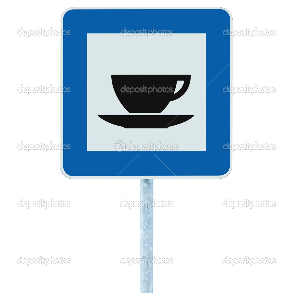 Restaurant road sign on post pole, traffic roadsign, blue isolated bistro dinner bar cafe cafeteria catering coffee tea cup service signage — Stock Photo #10992353