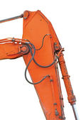 Old Generic Excavator Dipper And Boom, Vertical Closeup, Isolate — Stock Photo