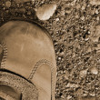 Hiking boot off-road shoe on hard arid dried soil in sepia, vert — Stock Photo #12394551