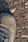 Hiking boot off-road shoe on hard arid dried soil in sepia, vert — Stock Photo
