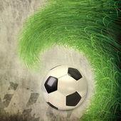 Soccer ball on grunge background — Stock Photo