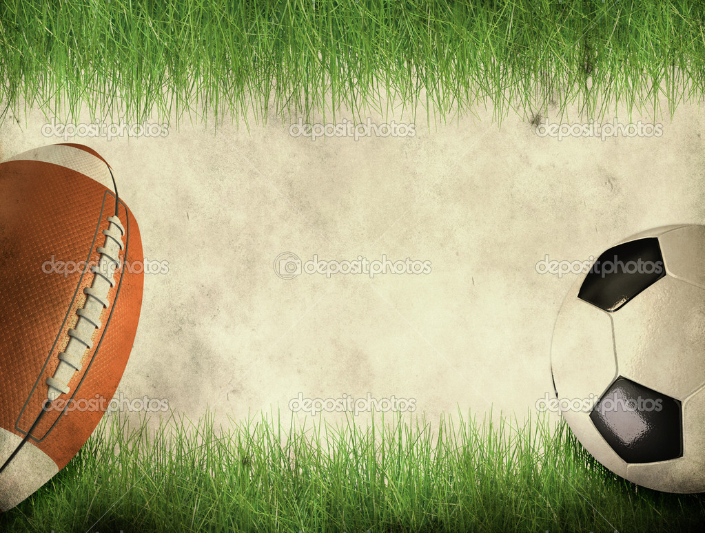 American Football Background Page: American Football And Soccer Ball On Grunge Background