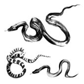 Snakes in traditional Chinese ink painting — Stock Vector