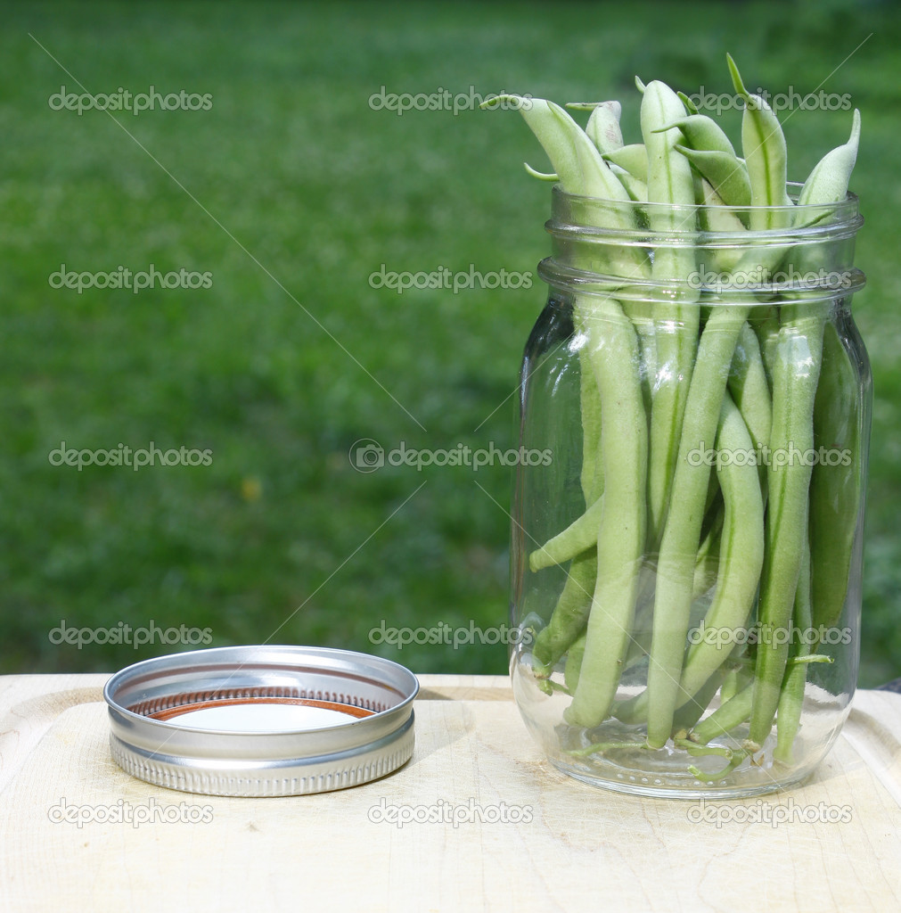 A jar full of fresh picked green beans (snap, bush beans) on a wooden cutting board outside among nature with room for your text — Stock Photo #11751840