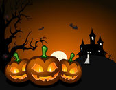 Halloween pumpkin and haunted castle — Stock Vector