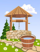 Old wooden well and bucket of water — Stock Vector