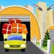 Goods purchased loaded onto an outgoing truck for a customer — Imagen vectorial