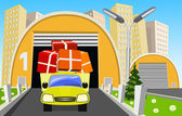 Goods purchased loaded onto an outgoing truck for a customer — Stock Vector