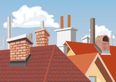Chimneys on the roofs of houses — Stock Vector