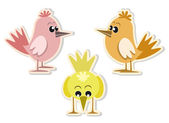 Cute colorful little birds — Stock Vector