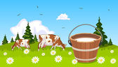 Cow on meadow bucket of milk in the foreground — Stock Vector