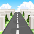 Road over a maze cutting through the confusion and succeeding in business and life. — Stock Vector