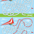 Hang gliding maze — Stock Vector
