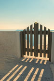 Wooden gate on Santorini — Stock Photo