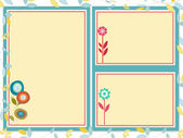 Triple frames with flowers — Stock Photo