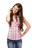 Portrait of a schoolgirl with cellphone — Stock Photo