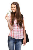 Portrait of a happy student with flower — Stockfoto