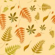 A seamless autumn background with different shaped leaves in var - Stock Vector