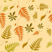 A seamless autumn background with different shaped leaves in var — Stock Vector