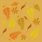 An autumn background with different shaped leaves — Stock Vector