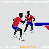 Athlete table tennis players — Stock Vector