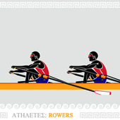 Athlete Rowers — Stock Vector