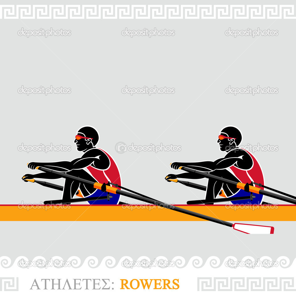 Greek art stylized rowing team at the competition  Stock Vector #11141774