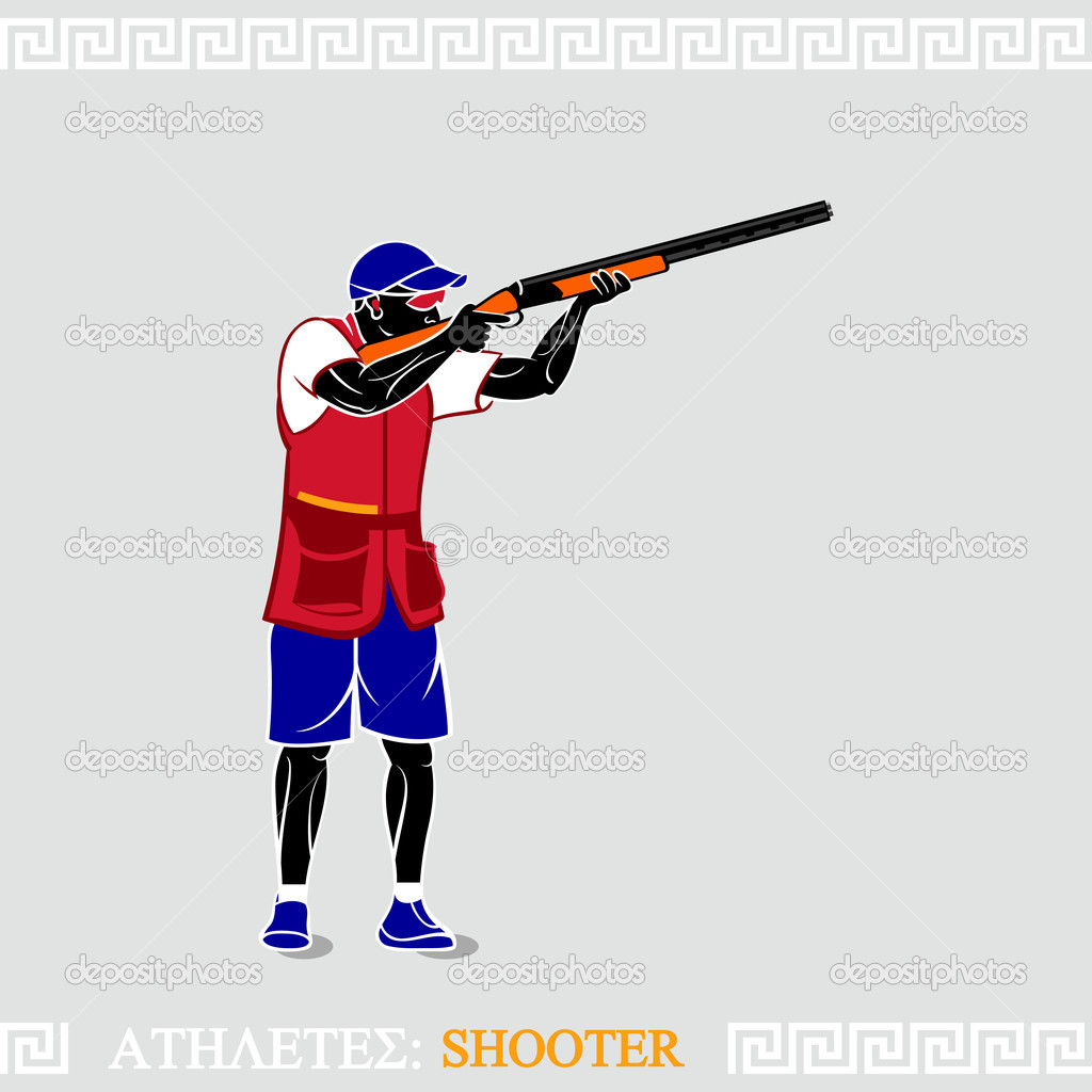 Greek art stylized skeet shooter with shotgun — Stock Vector #11141786