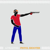 Athlete Pistol Shooter — Stock Vector
