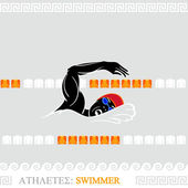 Athlete Swimmer — Stock Vector
