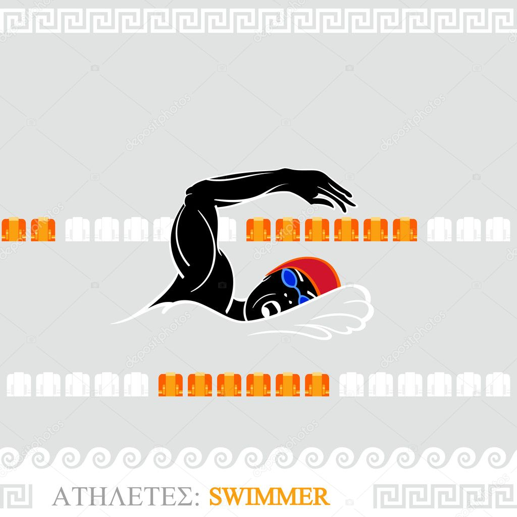 Greek art stylized freestyle swimmer at the pool — Stockvektor #11186889