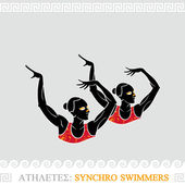 Athlete synchro swimmers — Stock Vector