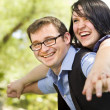 Stock Photo: Young Couple Having Fun in the Park