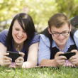 Foto de Stock  : Young Couple at Park Texting Together