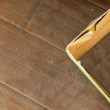 Newly Installed Brown Laminate Flooring - Stock Photo