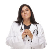 Concerned Female Hispanic Doctor or Nurse — Stock Photo