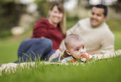 Happy Mixed Race Baby Boy and Parents Playing in Park — Stock Photo